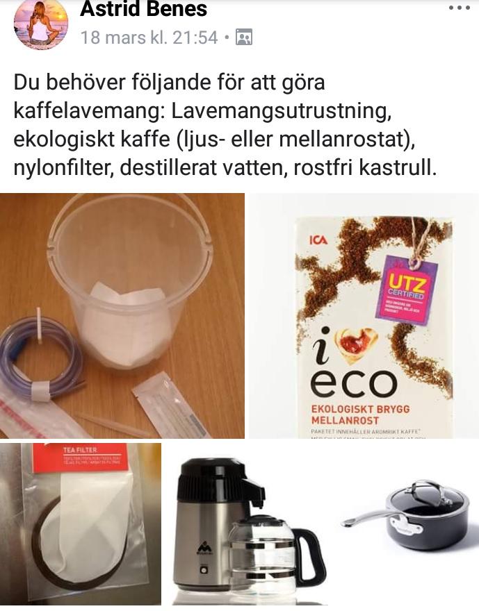 Recept på kaffelavemang för Gersonmetoden
