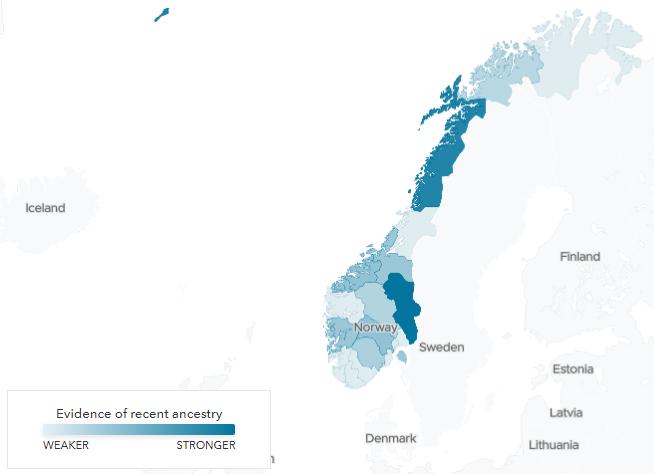 Träffar mot de olika norska fylkenas referenspopulationerna